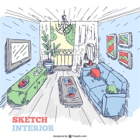 Wohnzimmer Zeichnung by Wohnzimmer Innenraum Skizze Doodle Der