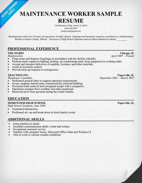 Building Maintenance Resume Student Resume maintenance resume objective exles recentresumes