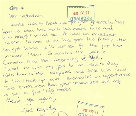 Thank You Letter Help family thank you letter family charity ireland clionas