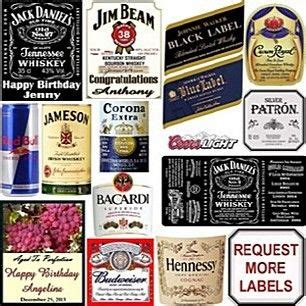 Drink With Label Custom liquor labels whiskey wine custom drink label bottle cake cake decorating and supplies