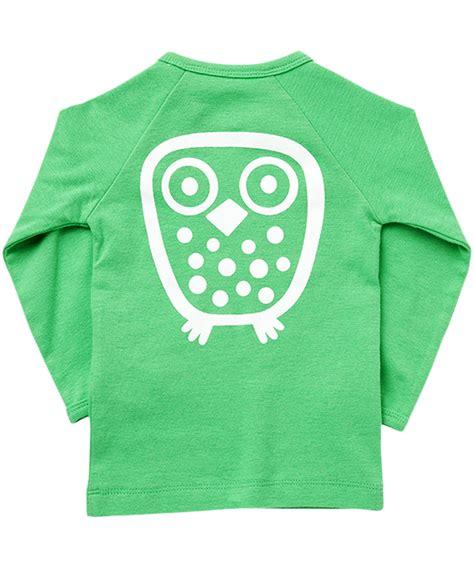 Owl Ls by Nieuw Ej Sikke Lej Frisgroene Basis T Shirt Met Lange Mouwen En Uilenprint Basic Owl Ls