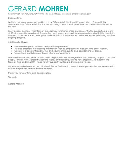 Firm Administrator Cover Letter by Best Office Administrator Cover Letter Exles Livecareer