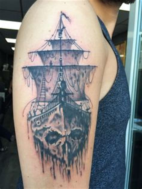 tattooed cunt pirate ghost ship black and grey by max