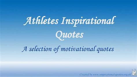 Athletes Inspirational Quotes - YouTube