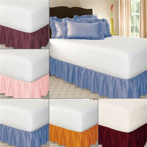 elastic ruffle bed skirt easy fit spread cover valance soft king ebay