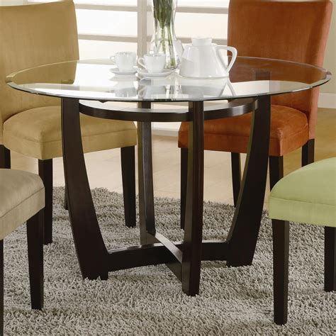 round glass top dining room tables black stained walnut wood pedestal for round glass top