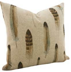 feather linen throw pillow rustic decorative pillows