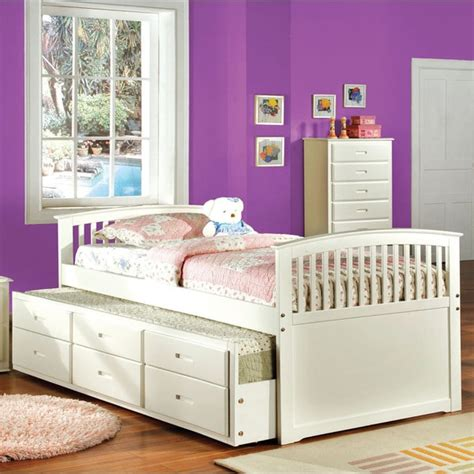 white trundle bed with storage furniture of america annetta white mission style captain