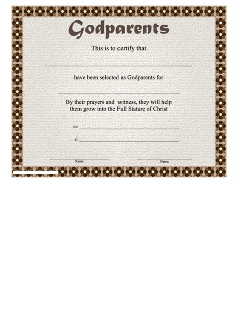 godparent certificate template godparents certificate template flower border printable