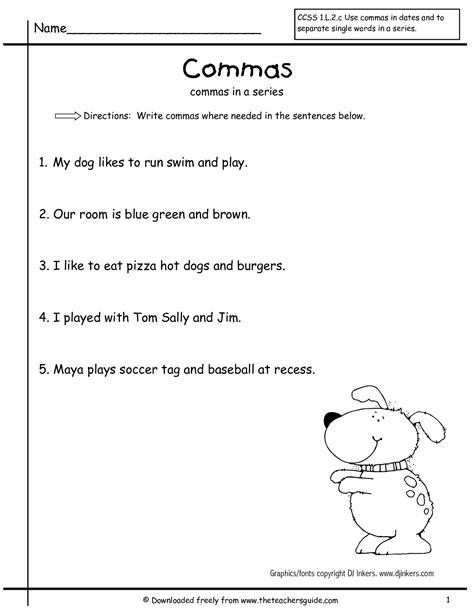 Commas In A Series Worksheets by Wonders Grade Unit Three Week One Printouts