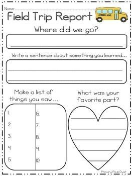 layout of a field report field trip report it s perfect for writing about the