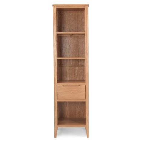 Slim Bookcase With Drawers Nappa Oak Slim Bookcase With Drawer
