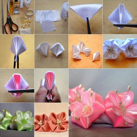 How To Make Paper Ribbon Flowers - how to diy petals ribbon flower