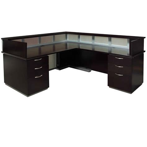 Walnut Reception Desk 7023 Right Return Reception Desk Walnut National Office Interiors And Liquidators