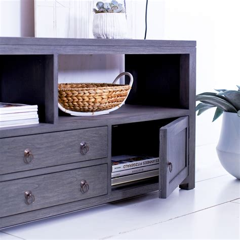 Grey Tv Cabinet tikamoon solid painted grey mindi tv cabinet entertainment