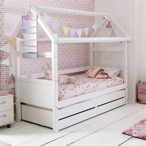 cabin bed with trundle and drawers flexa nordic kids house bed frame 2 in white kids avenue