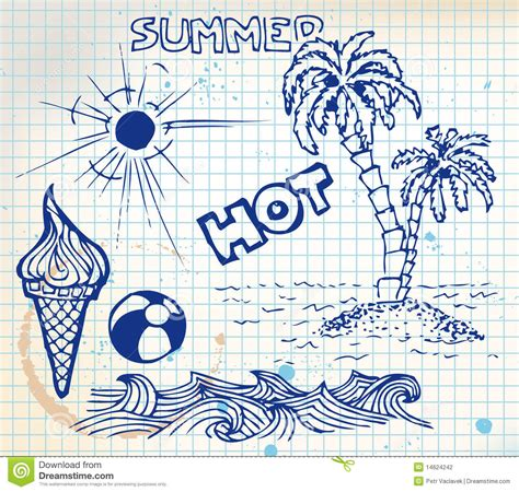 doodle summer summer doodle elements stock photography image 14624242