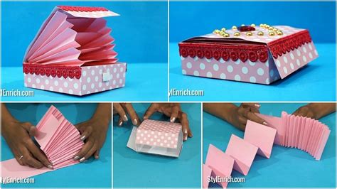 How To Craft A Paper - diy paper crafts easy paper magic gift box step by step