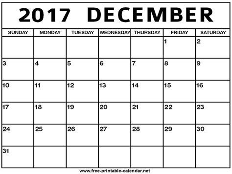 Calendar 2017 December Free December 2017 Calendar Print Calendar From Free