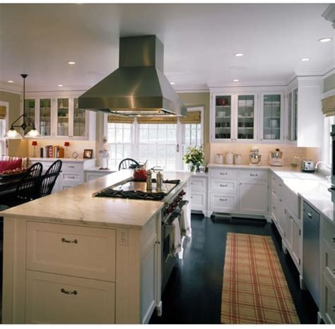 pin  kathleen geyer  island wstove eclectic kitchen