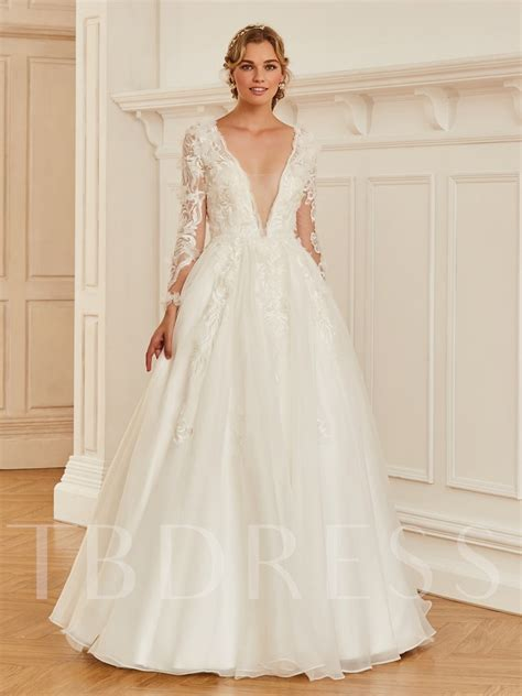 v neck appliques sleeve wedding dress tbdress