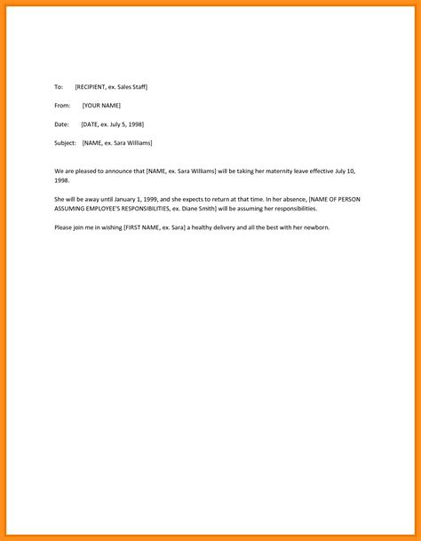Advance Letter For Maternity Maternity Leave Letter To Employer Template