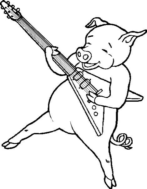 coloring page playing guitar pig play the guitar coloring pages pig cartoon coloring