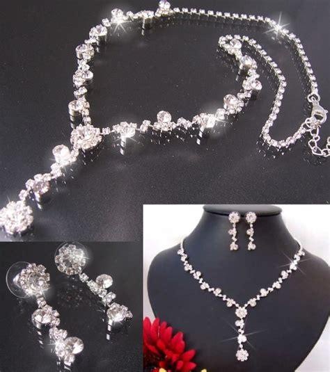Modeschmuck Brautschmuck by Perlu Damen Schmuckset Halskette Ohrringe