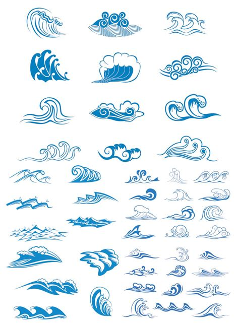drawing a vector wave sea wave logos vector free stock vector