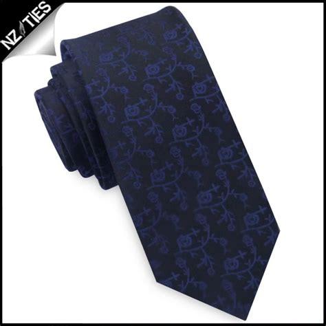 pattern blue tie black with navy blue floral pattern mens skinny tie nz ties