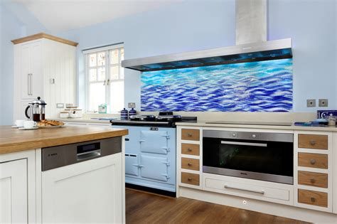 kitchen glass splashback ideas rich ocean colours bring moverment and life to this unique