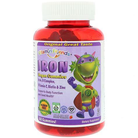 Gummy 60s 10s vitamin friends iron vegan gummies strawberry 60 pectin gummies iherb