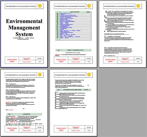 environmental health and safety plan template iso 14001 environmental system instant