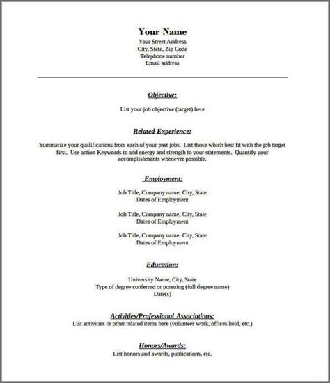 Fill In The Blank Resume Templates by Blank Resume Templates Pdf Gfyork