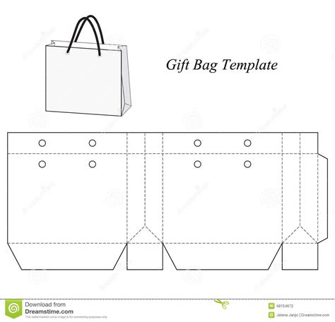 blank gift bag template stock vector illustration of