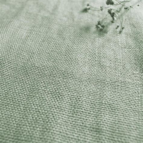 Blue Green Upholstery Fabric by Greta Pistachio Green Plain Linen Fabric