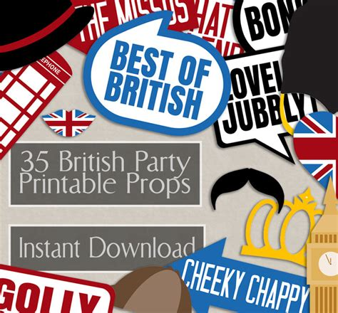 themes en english 35 british photo booth props british themed party props i