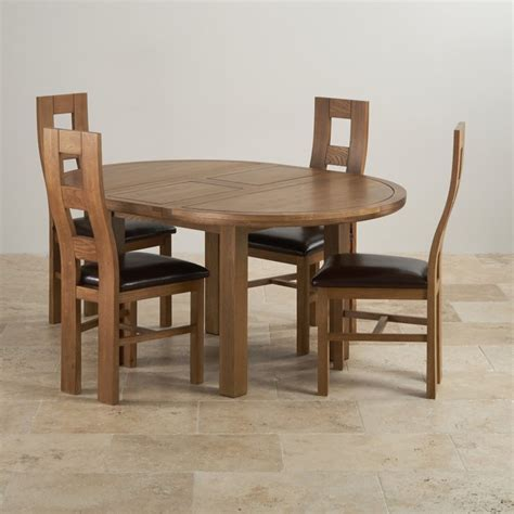 Knightsbridge Round Extending Dining Table 4 Leather Chairs Rustic Solid Oak Dining Table
