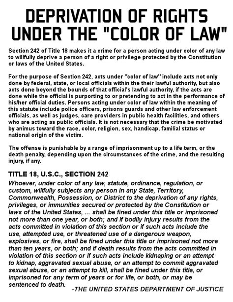 deprivation of rights the color of united