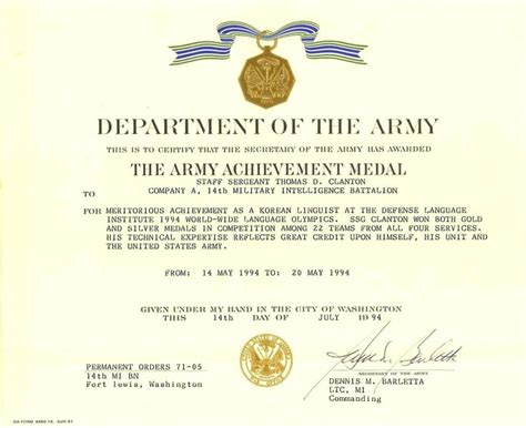 army achievement medal certificate army achievement medal award points