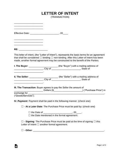 letter intent loi templates word