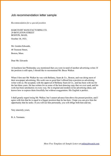 Letter Of Recommendation From Employer sle professional reference letter for employment the
