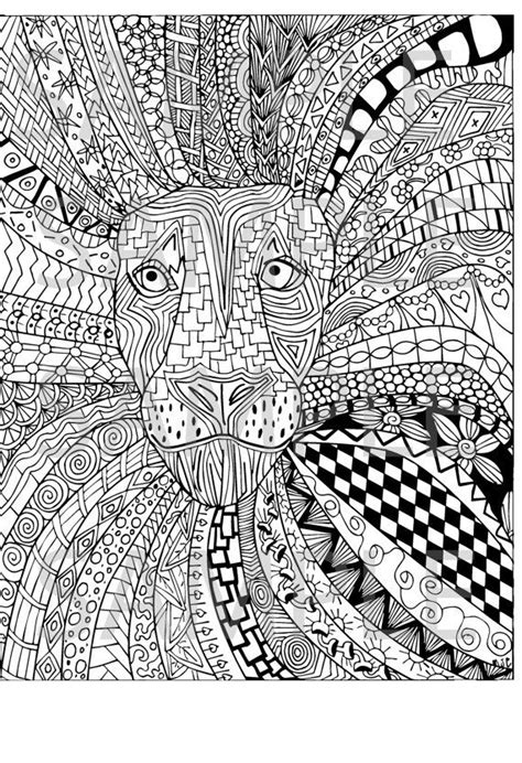 free zentangle coloring pages pdf lion zentangle adult coloring page instant download