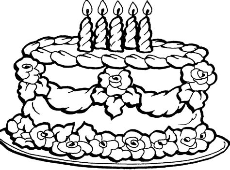 Cake Color Page free coloring pages of birthday