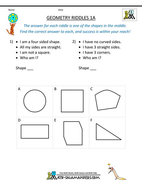 1st Grade Geometry Worksheets by Geometry Worksheets Riddles