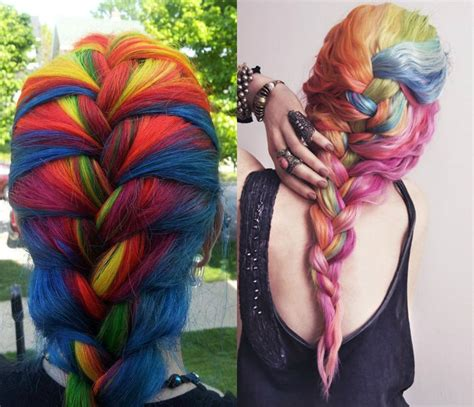 Multi Colored Hairstyles by Striking Multi Colored Braids Hairstyles Hairdrome
