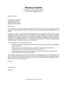 Assistant Cover Letter Exles by Cover Letter Exle Executive Assistant Careerperfect