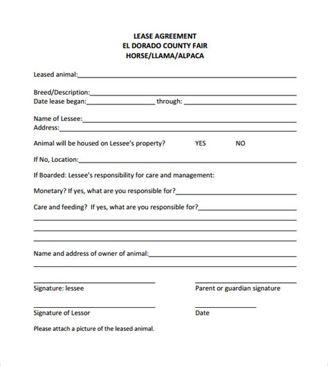 free printable horse lease agreement doc 7281074 horse lease agreements the equine lease