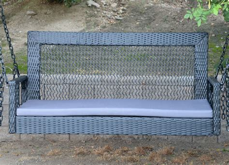 hanging bench black 60 quot patio porch swing chair bench resin wicker