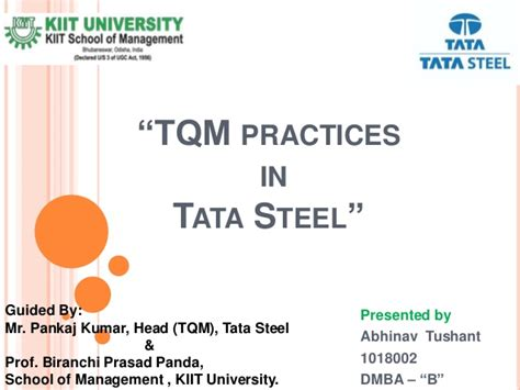 In Tata Steel Jamshedpur For Mba Freshers by Tqm Practices In Tata Steel